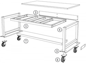 Mobile Standard Workstation with Undertable Shelf