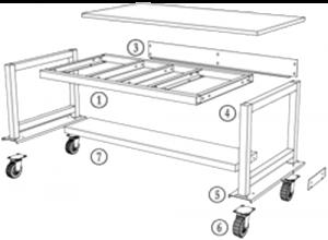 Mobile Standard Workstation with Undertable Shelf