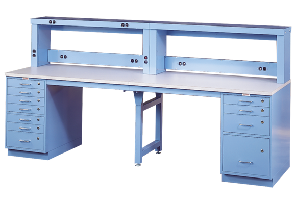 In-Line Cabinet Workstation with Fixed RIser Shelving