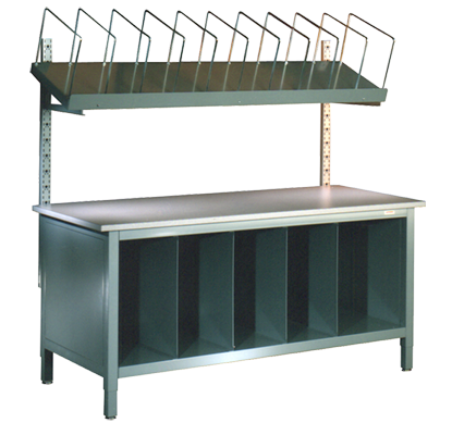 Packing and SHipping Station with Wire Dividers and Divided Storage