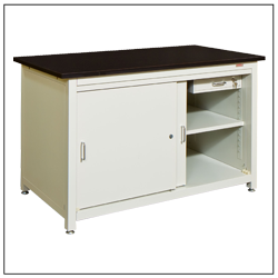 Sliding door storage workstation